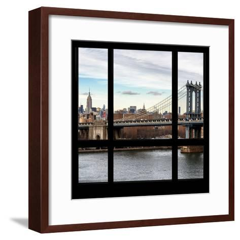 View from the Window - NYC City Bridge-Philippe Hugonnard-Framed Art Print