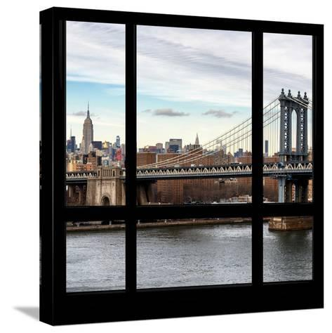 View from the Window - NYC City Bridge-Philippe Hugonnard-Stretched Canvas Print