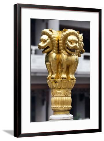 China 10MKm2 Collection - Golden Chinese Lion Statue Jing An Temple - Shanghai-Philippe Hugonnard-Framed Art Print