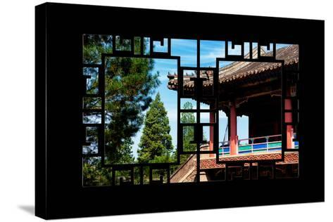China 10MKm2 Collection - Asian Window - Chinese Temple-Philippe Hugonnard-Stretched Canvas Print