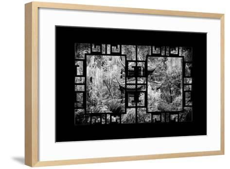 China 10MKm2 Collection - Asian Window - Chinese Pavilion in Garden-Philippe Hugonnard-Framed Art Print
