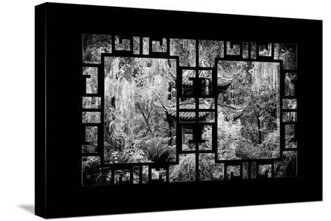 China 10MKm2 Collection - Asian Window - Chinese Pavilion in Garden-Philippe Hugonnard-Stretched Canvas Print
