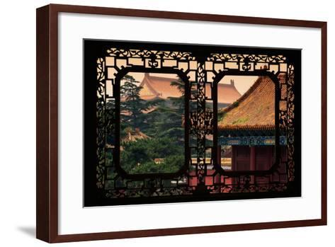 China 10MKm2 Collection - Asian Window - Roofs of Forbidden City at Sunset - Beijing-Philippe Hugonnard-Framed Art Print