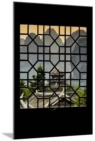 China 10MKm2 Collection - Asian Window - Chinese Buddhist Temple with Karst Mountains at Sunset-Philippe Hugonnard-Mounted Photographic Print