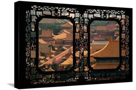 China 10MKm2 Collection - Asian Window - Roofs of Forbidden City - Beijing-Philippe Hugonnard-Stretched Canvas Print