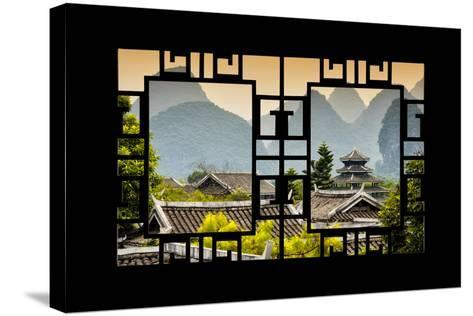China 10MKm2 Collection - Asian Window - Chinese Buddhist Temple with Karst Mountains at Sunset-Philippe Hugonnard-Stretched Canvas Print