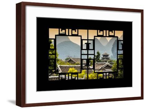 China 10MKm2 Collection - Asian Window - Chinese Buddhist Temple with Karst Mountains at Sunset-Philippe Hugonnard-Framed Art Print
