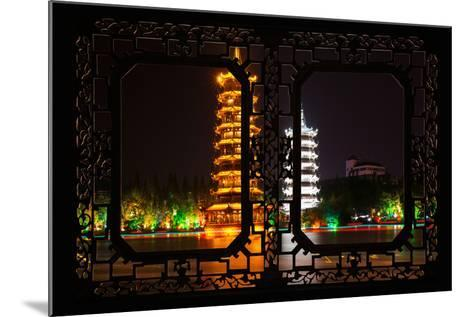 China 10MKm2 Collection - Asian Window - Sun & Moon Twin Pagodas-Philippe Hugonnard-Mounted Photographic Print