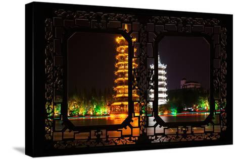 China 10MKm2 Collection - Asian Window - Sun & Moon Twin Pagodas-Philippe Hugonnard-Stretched Canvas Print