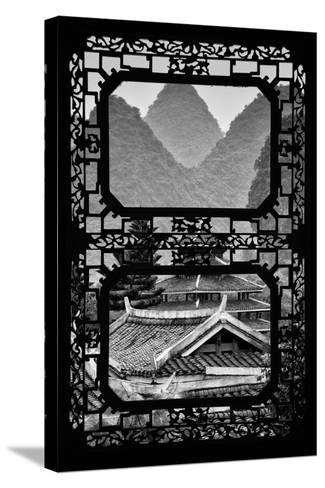China 10MKm2 Collection - Asian Window - Chinese Buddhist Temple with Karst Mountains-Philippe Hugonnard-Stretched Canvas Print