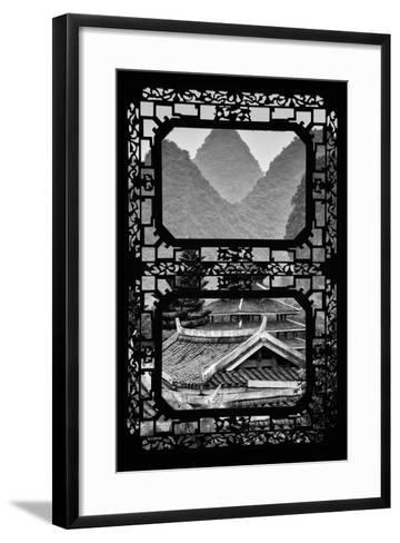 China 10MKm2 Collection - Asian Window - Chinese Buddhist Temple with Karst Mountains-Philippe Hugonnard-Framed Art Print