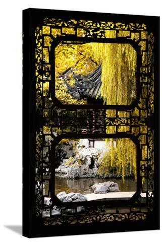 China 10MKm2 Collection - Asian Window - Classical Chinese Pavilion Fall Colors-Philippe Hugonnard-Stretched Canvas Print