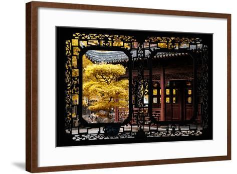 China 10MKm2 Collection - Asian Window - Classical Chinese Pavilion Fall Colors-Philippe Hugonnard-Framed Art Print