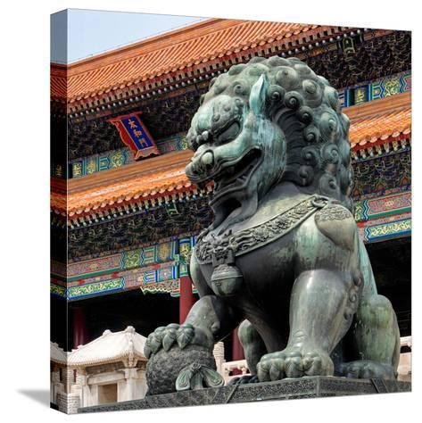 China 10MKm2 Collection - Bronze Chinese Lion in Forbidden City-Philippe Hugonnard-Stretched Canvas Print