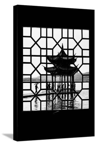 China 10MKm2 Collection - Asian Window - Temple Lake-Philippe Hugonnard-Stretched Canvas Print