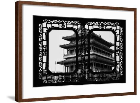 China 10MKm2 Collection - Asian Window - Qianmen Temple - Beijing-Philippe Hugonnard-Framed Art Print