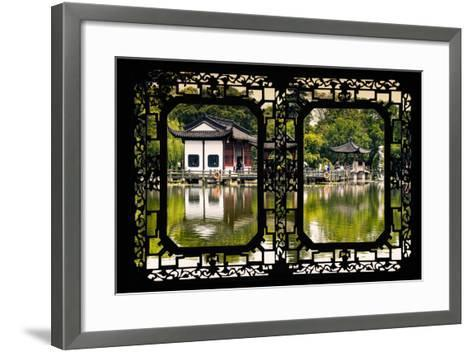China 10MKm2 Collection - Asian Window - Temple Reflections-Philippe Hugonnard-Framed Art Print