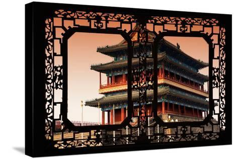 China 10MKm2 Collection - Asian Window - Qianmen Beijing-Philippe Hugonnard-Stretched Canvas Print