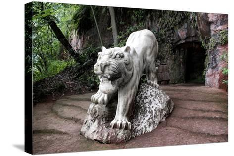 China 10MKm2 Collection - Lion - Buddhist Sculpture-Philippe Hugonnard-Stretched Canvas Print