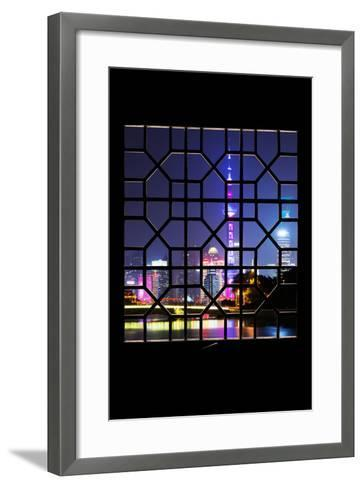 China 10MKm2 Collection - Asian Window - Shanghai Cityscape at night-Philippe Hugonnard-Framed Art Print