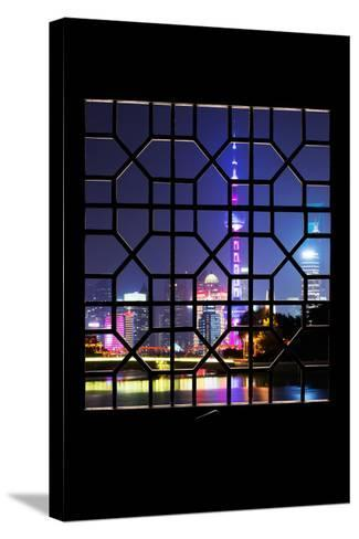 China 10MKm2 Collection - Asian Window - Shanghai Cityscape at night-Philippe Hugonnard-Stretched Canvas Print