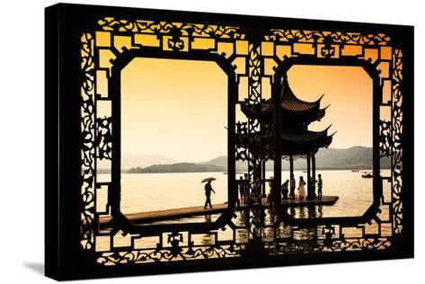 China 10MKm2 Collection - Asian Window - Water Temple at sunset-Philippe Hugonnard-Stretched Canvas Print