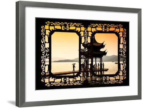 China 10MKm2 Collection - Asian Window - Water Temple at sunset-Philippe Hugonnard-Framed Art Print