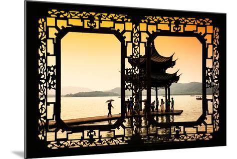 China 10MKm2 Collection - Asian Window - Water Temple at sunset-Philippe Hugonnard-Mounted Photographic Print