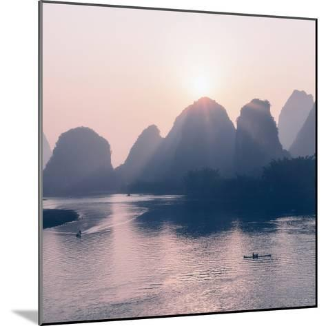 China 10MKm2 Collection - Beautiful Scenery of Yangshuo with Karst Mountains at Pastel Sunrise-Philippe Hugonnard-Mounted Photographic Print
