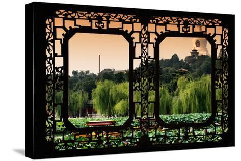 China 10MKm2 Collection - Asian Window - Lotus Flowers - Beihai Park-Philippe Hugonnard-Stretched Canvas Print