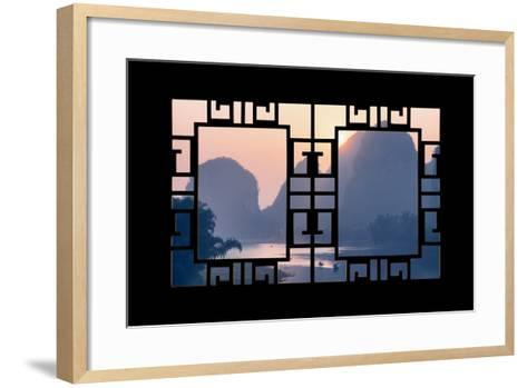China 10MKm2 Collection - Asian Window - Great View of Yangshuo with Karst Mountains at Sunrise-Philippe Hugonnard-Framed Art Print