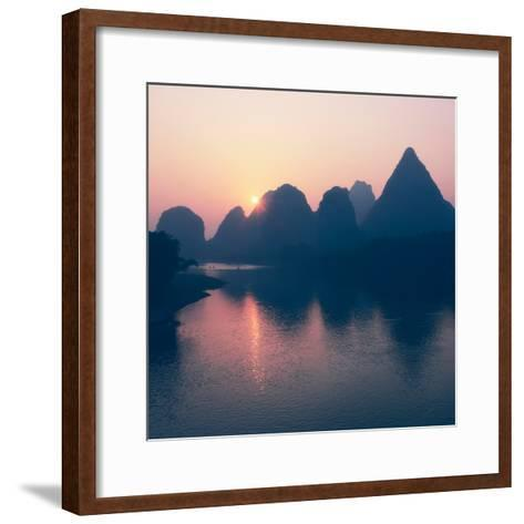 China 10MKm2 Collection - Beautiful Scenery of Yangshuo with Karst Mountains at Pastel Sunrise-Philippe Hugonnard-Framed Art Print