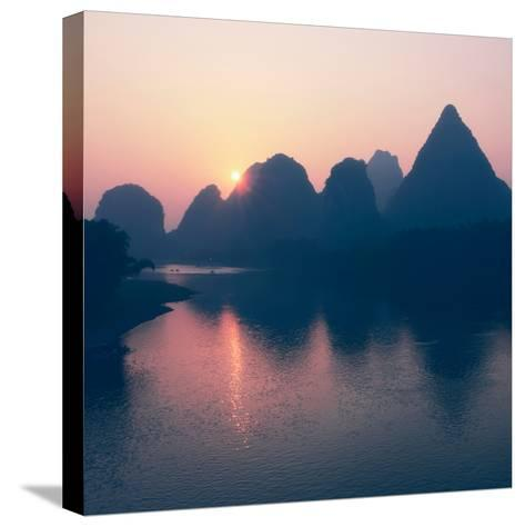 China 10MKm2 Collection - Beautiful Scenery of Yangshuo with Karst Mountains at Pastel Sunrise-Philippe Hugonnard-Stretched Canvas Print
