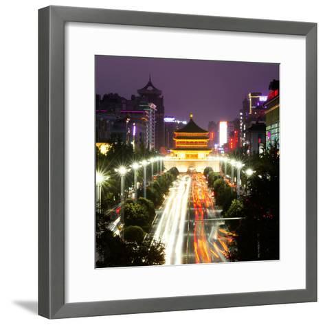 China 10MKm2 Collection - City Night Xi'an-Philippe Hugonnard-Framed Art Print