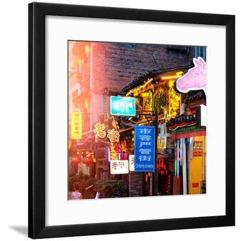China 10MKm2 Collection - Chinese Signs Night-Philippe Hugonnard-Framed Art Print