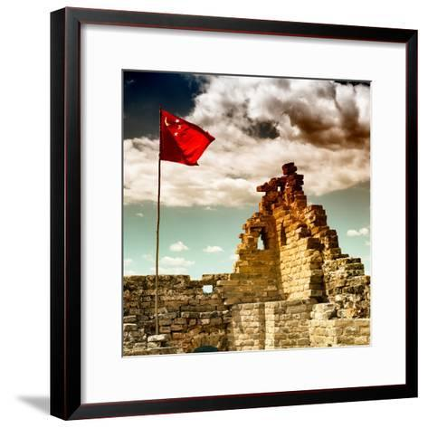 China 10MKm2 Collection - Great Wall with the Chinise Flag-Philippe Hugonnard-Framed Art Print