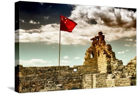 China 10MKm2 Collection - Great Wall with the Chinise Flag-Philippe Hugonnard-Stretched Canvas Print