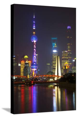 China 10MKm2 Collection - Shanghai Skyline with Oriental Pearl Tower at night-Philippe Hugonnard-Stretched Canvas Print