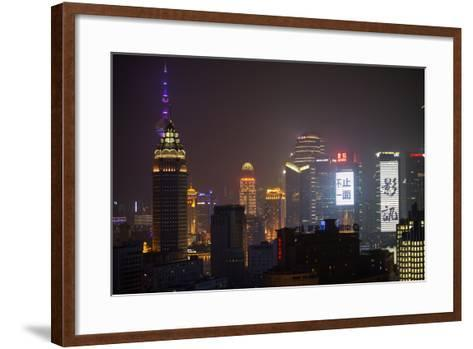China 10MKm2 Collection - Shanghai Cityscape at night-Philippe Hugonnard-Framed Art Print