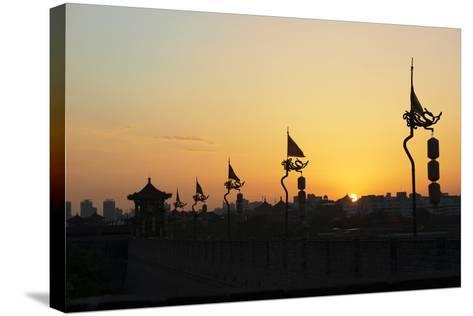 China 10MKm2 Collection - Shadows of the City Walls at sunset - Xi'an City-Philippe Hugonnard-Stretched Canvas Print