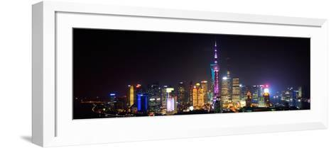 China 10MKm2 Collection - Shanghai Skyline with Oriental Pearl Tower at night-Philippe Hugonnard-Framed Art Print