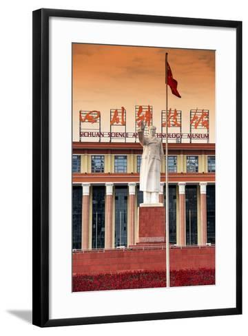 China 10MKm2 Collection - Statue of Mao Zedong in front of the museum-Philippe Hugonnard-Framed Art Print