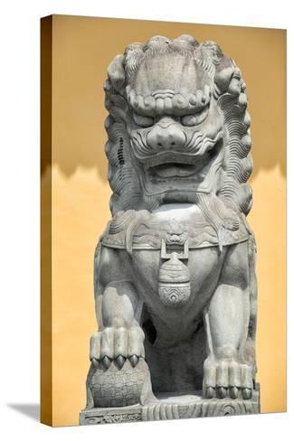China 10MKm2 Collection - Stone Lion Statue-Philippe Hugonnard-Stretched Canvas Print