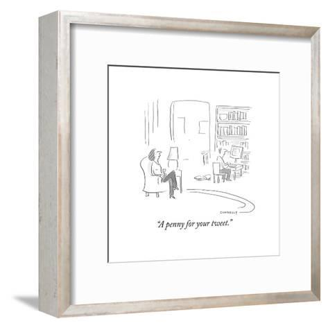"""A penny for your tweet."" - Cartoon-Liza Donnelly-Framed Art Print"