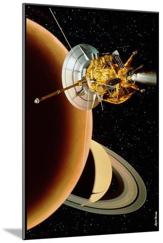 Cassini Spacecraft Near Titan-David Ducros-Mounted Photographic Print