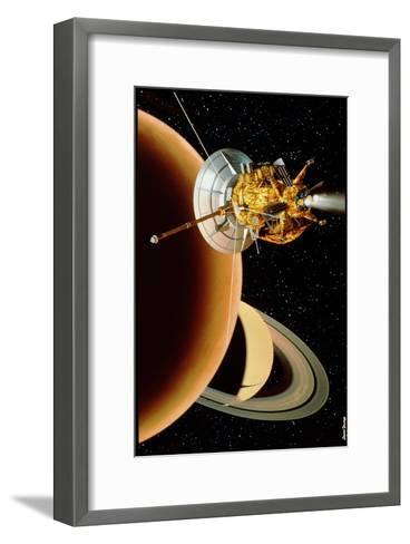 Cassini Spacecraft Near Titan-David Ducros-Framed Art Print