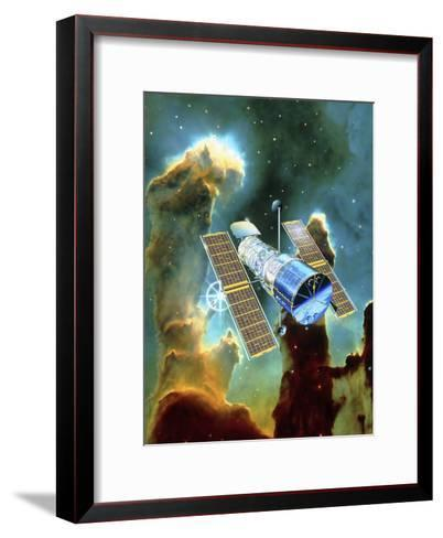 Artwork of Hubble Space Telescope And Eagle Nebula-David Ducros-Framed Art Print