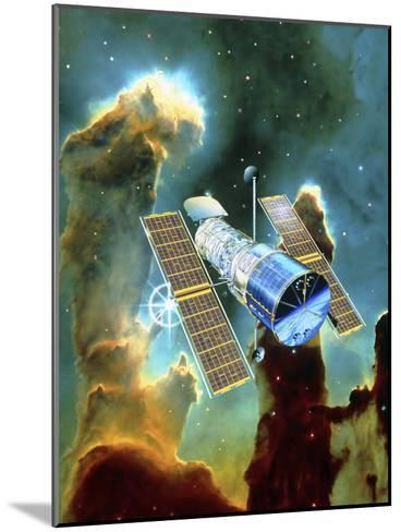 Artwork of Hubble Space Telescope And Eagle Nebula-David Ducros-Mounted Photographic Print