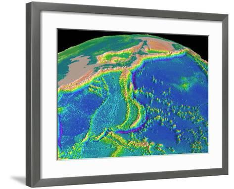 Mariana Trench Sea Floor Topography-us Geological Survey-Framed Art Print