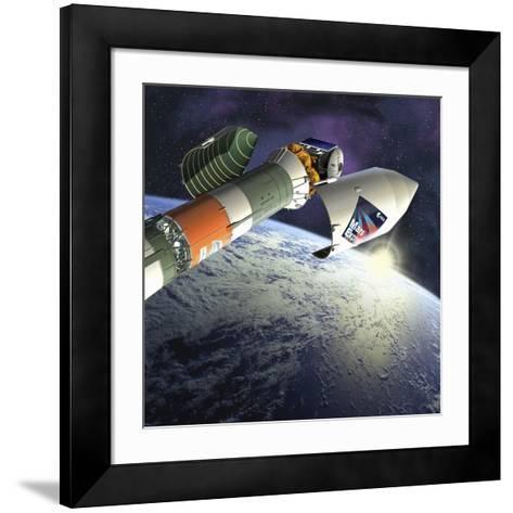 Mars Express Launch, Artwork-David Ducros-Framed Art Print